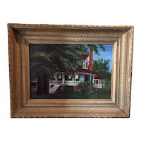Antique North Carolina House Portrait Oil Painting - Sanderlin-Prichard House, Camden County