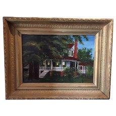 Antique North Carolina House Portrait Oil Painting - Sanderlin-Prichard House, Camden County