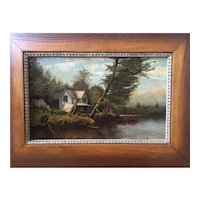 Antique 19th Century New York State Cottage Oil Painting