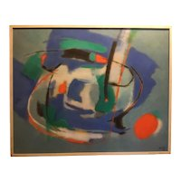 Mid Century Modern Abstract Oil on Canvas, ca. 1970