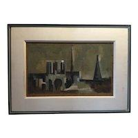 Vintage Paris School Modernist Oil Painting - Notre Dame, 1957