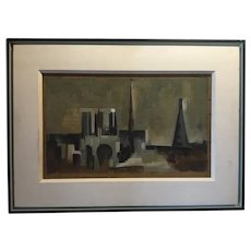 Vintage Paris School Modernist Oil Painting - Notre Dame, 1957