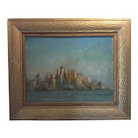 Early New York Skyline Oil on Canvas - Einar Palme, 1930