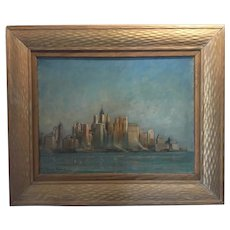 Early New York Skyline Oil on Canvas - Einar Palme, 1930