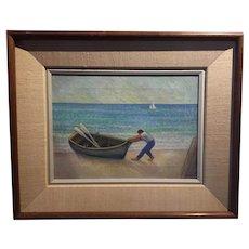 Vintage Frank Taira Modernist Oil Painting