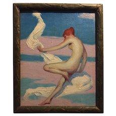 Art Deco Fantasy Nude Oil on Board, ca 1920
