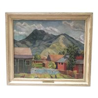 Vintage Southwest Painting - Ina Annett New Mexico Modernist Landscape; Oil on Canvas, 1937