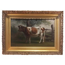 American School - 19th Century Cow Portrait Oil Painting