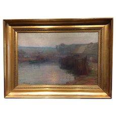 William Greason - Harbor Scene - Oil on Canvas, ca. 1910