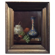American 19th Century Still Life Oil Painting - Listed Artist