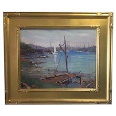 Otis Pierce Cook - Gloucester Harbor Oil Painting