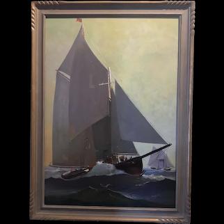 American School Yacht Race Oil Painting - Mid Century