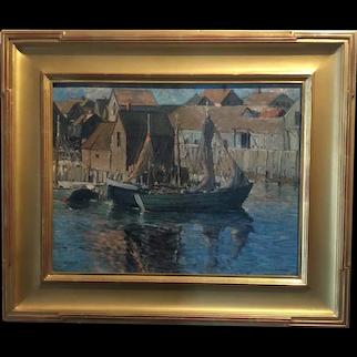 Alexander Bower Oil Painting - Gloucester Harbor Scene