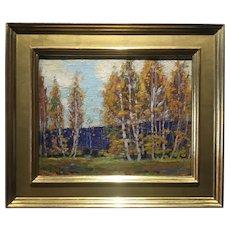 Elizabeth B. Browning; American Impressionist Oil on Board; Fall Landscape, 1919