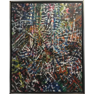 Vintage Modernist Abstract Painting - Great Energy