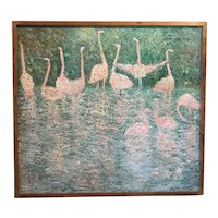 Vintage Flamingo Modernist Impressionist Oil Painting ca 1960