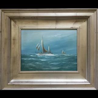 Vintage J Arnold Maritime Oil Painting; Chesapeake Bay