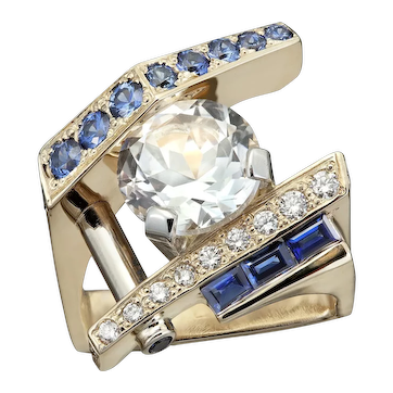 Contemporary 14kt yellow gold Sapphire and Diamond ring with 3ct natural white Topaz