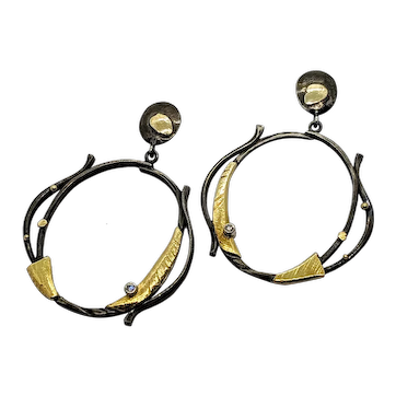 Open hoop dangle earrings with diamonds, oxidized sterling and 18kt yellow gold