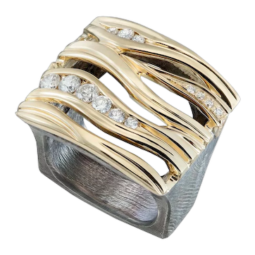 Wide band Diamond wave ring in 18kt yellow gold and oxidized sterling