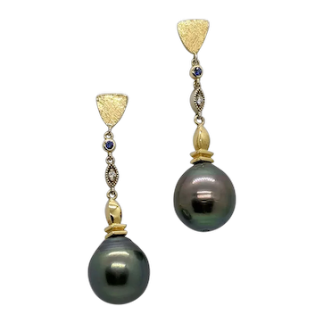 """Long Tahitian """"cultured"""" pearl dangle earrings with diamonds and sapphires"""