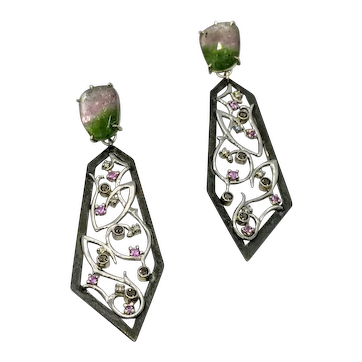 Watermelon Tourmaline and filigree drop earrings with diamonds, pink sapphires and smoky quartz