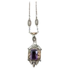 14K gold (marked) amethyst pendant, c. 1920's