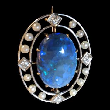 Edwardian Australian black opal brooch