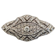 Art Deco Diamond brooch, platinum(tested) on gold (tested), c. 1920's