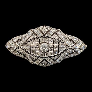 Art Deco Diamond brooch, platinum(tested) on gold (tested), c. 1920's