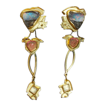 Stephani Briggs designed 18K/22K gold (marked) earrings with opals, tourmalines, and chalcedony