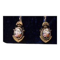 Micro Mosaic Victorian earrings, c. 1880's