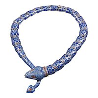 Rodriguez Mexican sterling silver blue enamel snake necklace