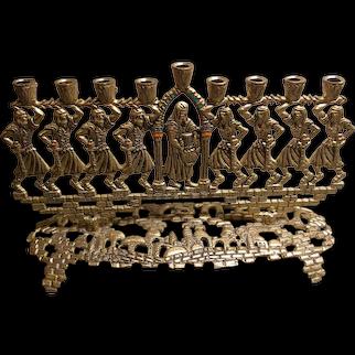 Israeli Brass Chanukah menorah, circa 1960's
