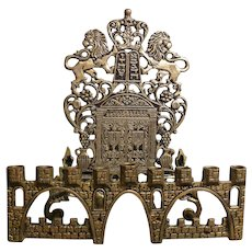 Unusual brass Chanukah menorah , circa late 1960's