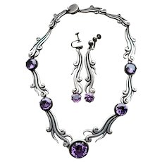 Mexican  Synthetic Alexandrite and Sterling Silver Necklace and Earrings