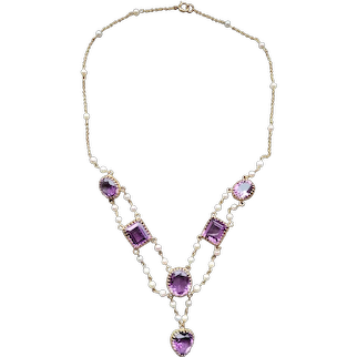 14K Gold Amethyst and Pearl Necklace, circa 1940's-50's