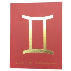 Gemini Zodiac Richard Kornemann Painting and 23kt Gold Leaf
