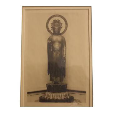 """Ansel Adams Photograph silver point Signed in Pencil """"Buddha"""" 20th Century original"""