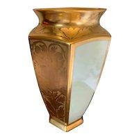 Bernardaud & Co. Limoges France Gold Etched and White Vase