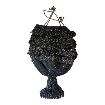 Black Antique Crocheted Drawstring Bag with Faceted Black Beads, and Chain Drawstring Handle