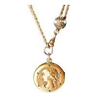 Antique Art Nouveau Gold Fill Locket Necklace with Woman Motif and Matching Chain