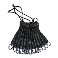 Art Deco Black Beaded Antique Crocheted Drawstring Bag