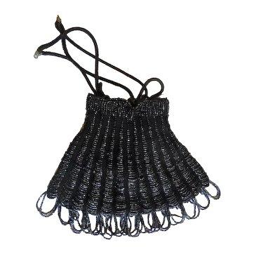 Art Deco Black Beaded Antique Crocheted Drawstring Bag