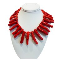 KENNETH LANE Chunky Genuine Branch Coral Necklace CIRCA 70s