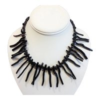 Vintage Black Branch Coral Necklace