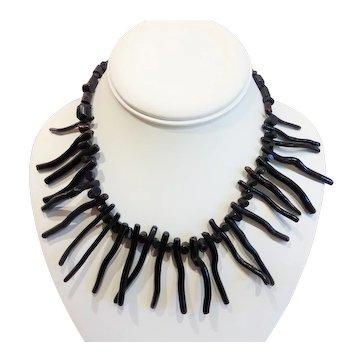 Vintage Black Branch Coral Necklace