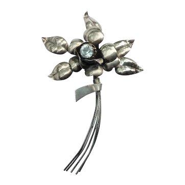 Vintage sterling silver aquamarine stone flower brooch