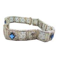 Ostby Barton 14K White Gold Filigree Sapphire Bracelet