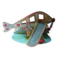 Large Antique 3D Airplane Valentine Card German 1920s